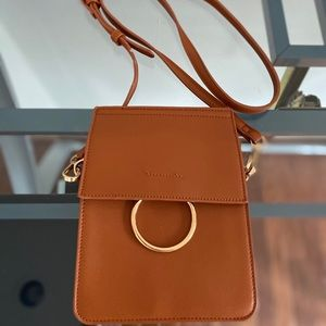 Forever 21: Brown cross body bag with gold detail